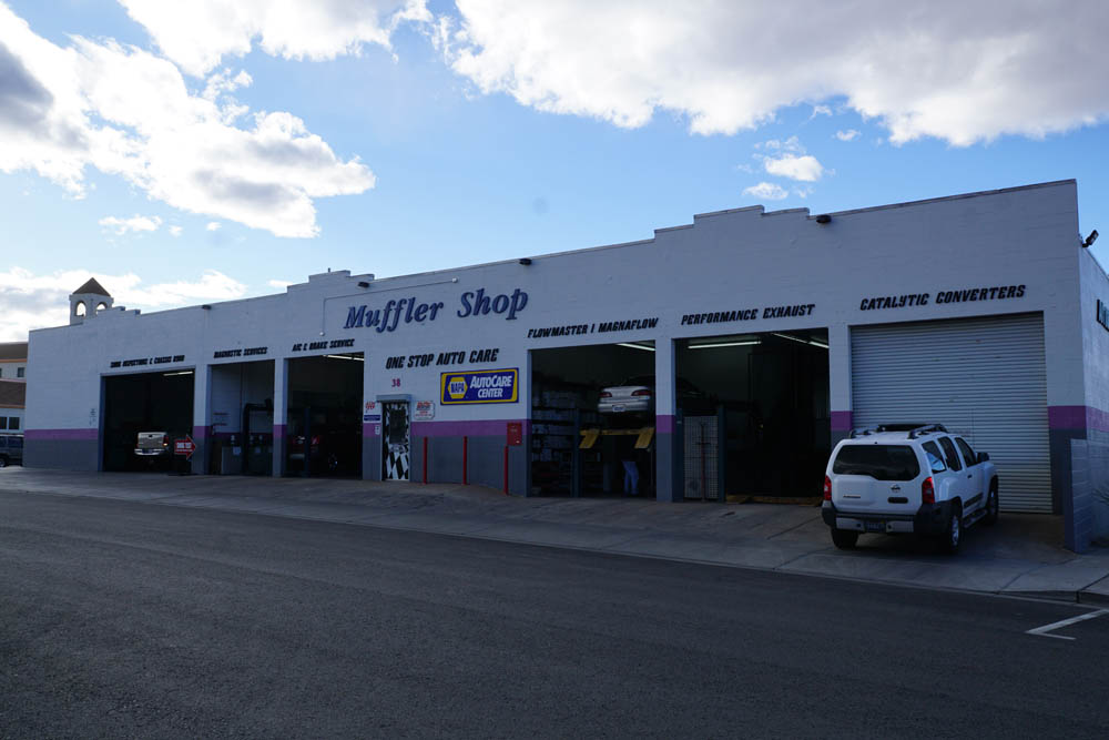 The exterior of the Muffler Shop